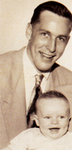 Baby Bruce with his father in 1952