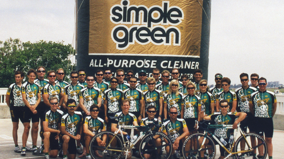1998: Simple Green sponsors competitive cycling team Cycles Veloce. Learn more <a target=_blank href=http://cyclesveloce.com>here.</a>