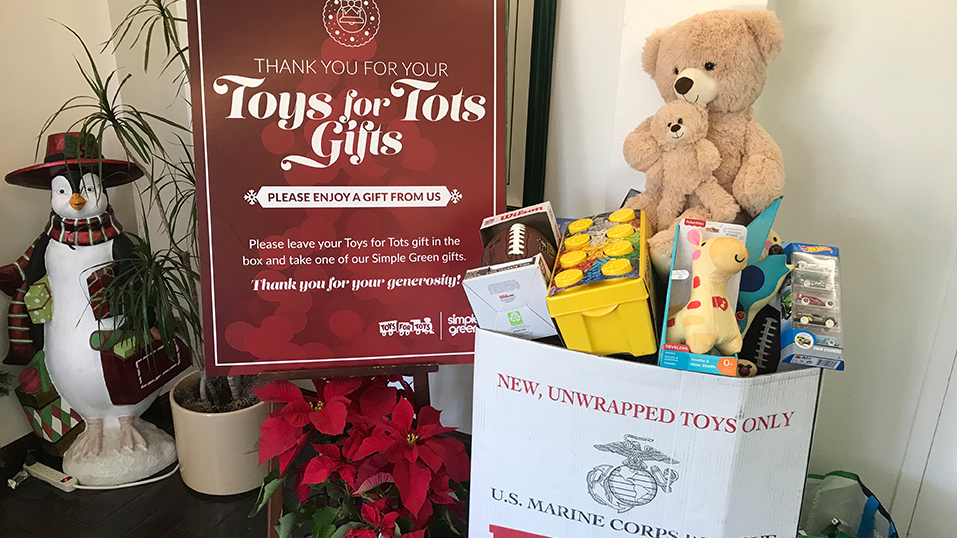 2016: Simple Green provides gifts to  people who donate to the U.S. Marine Corps Reserve Toys for Tots Program.